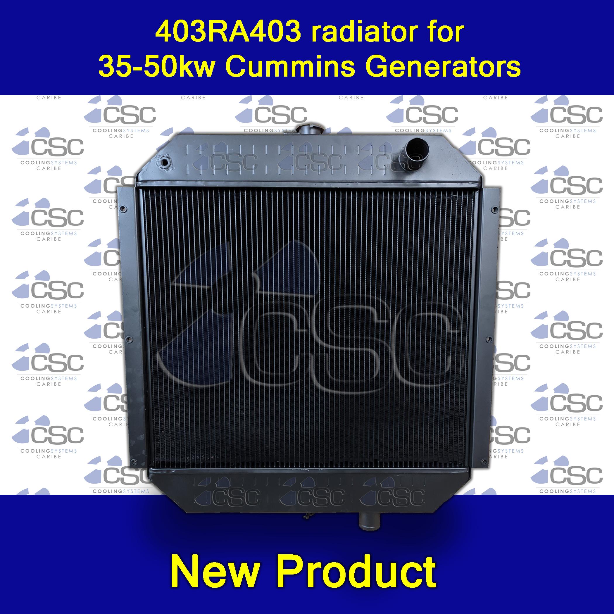Now in stock! 403RA403 radiator for 35-50kw Cummins Generators