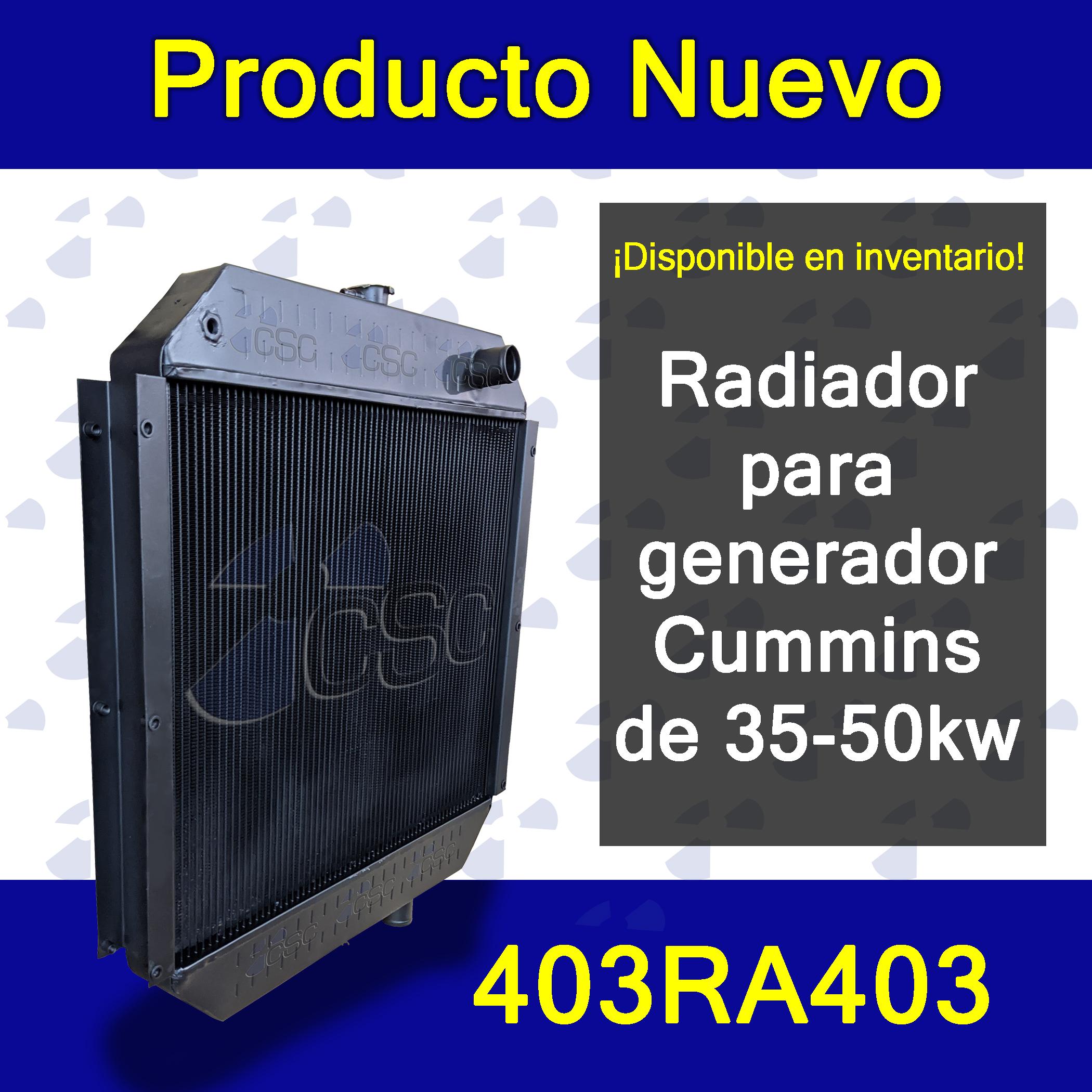 ¡Disponible en inventario! Radiador 403RA403 para generador Cummins de 35-50kw